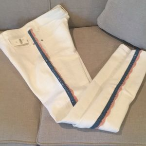 Pilcro cream skinny jean with lace side detail
